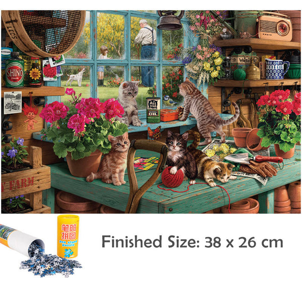 Mini Jigsaw Puzzles with Mat Roll Up 1000 Pieces for Adults Children's Kids Oil Painting Architectural Landscape Puzzle Toy Game, Jigsaw Puzzle, DIY Collectibles Modern Home Decoration-38 x 26cm