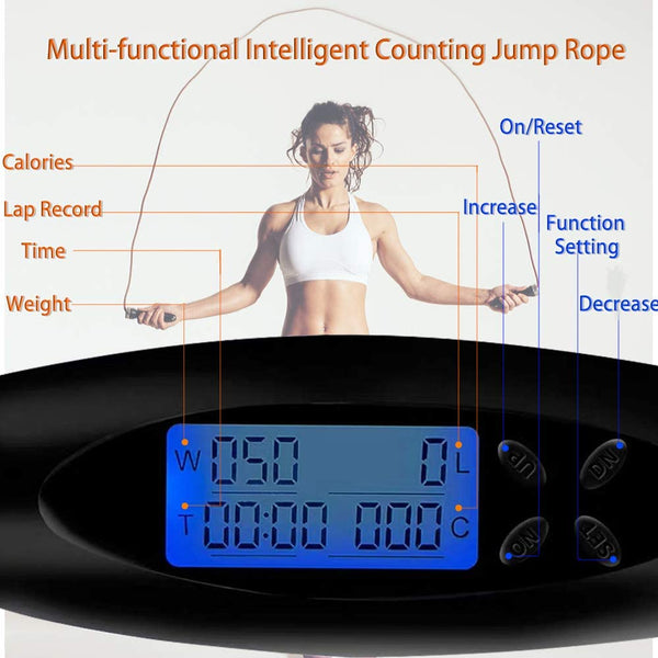 Smart Digital Light up Leather with Ropeless Cordless Mode Skipping Jump Rope