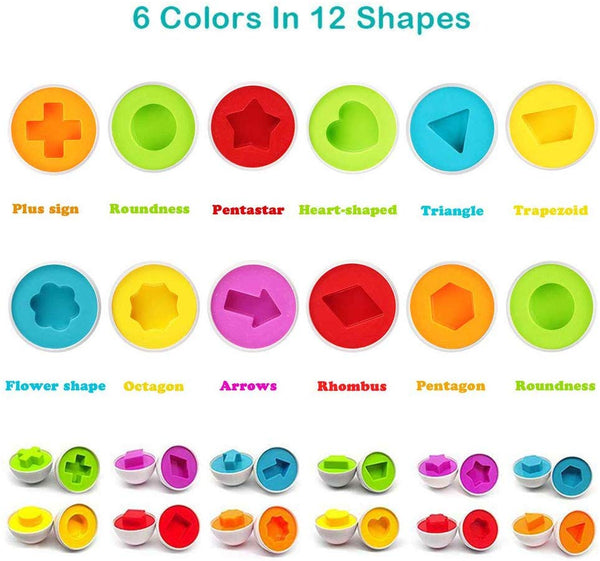 12 pcs Set Count and Match Preschool Education Toddlers Matching Eggs Toys