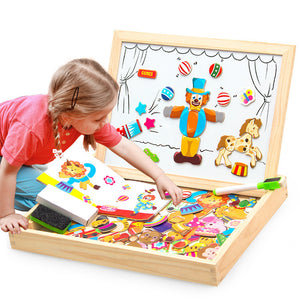 Wooden Toy Magnetic Board Puzzles Mermaid Circus Toddler DIY Imaginary Play Blocks Toy