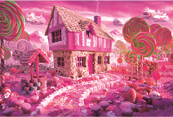 Pink Cartoon Lollipop Candy House 1000 Pieces Jigsaw Puzzles
