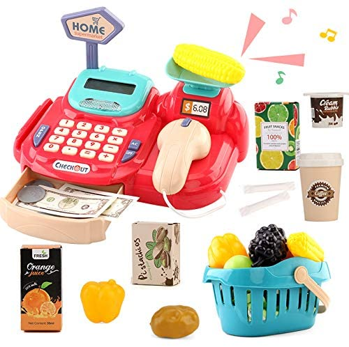26 PCS Cash Register Toy with Electronic Sounds Realistic Toy Pretend Cash Cashier Register Play Food and Money
