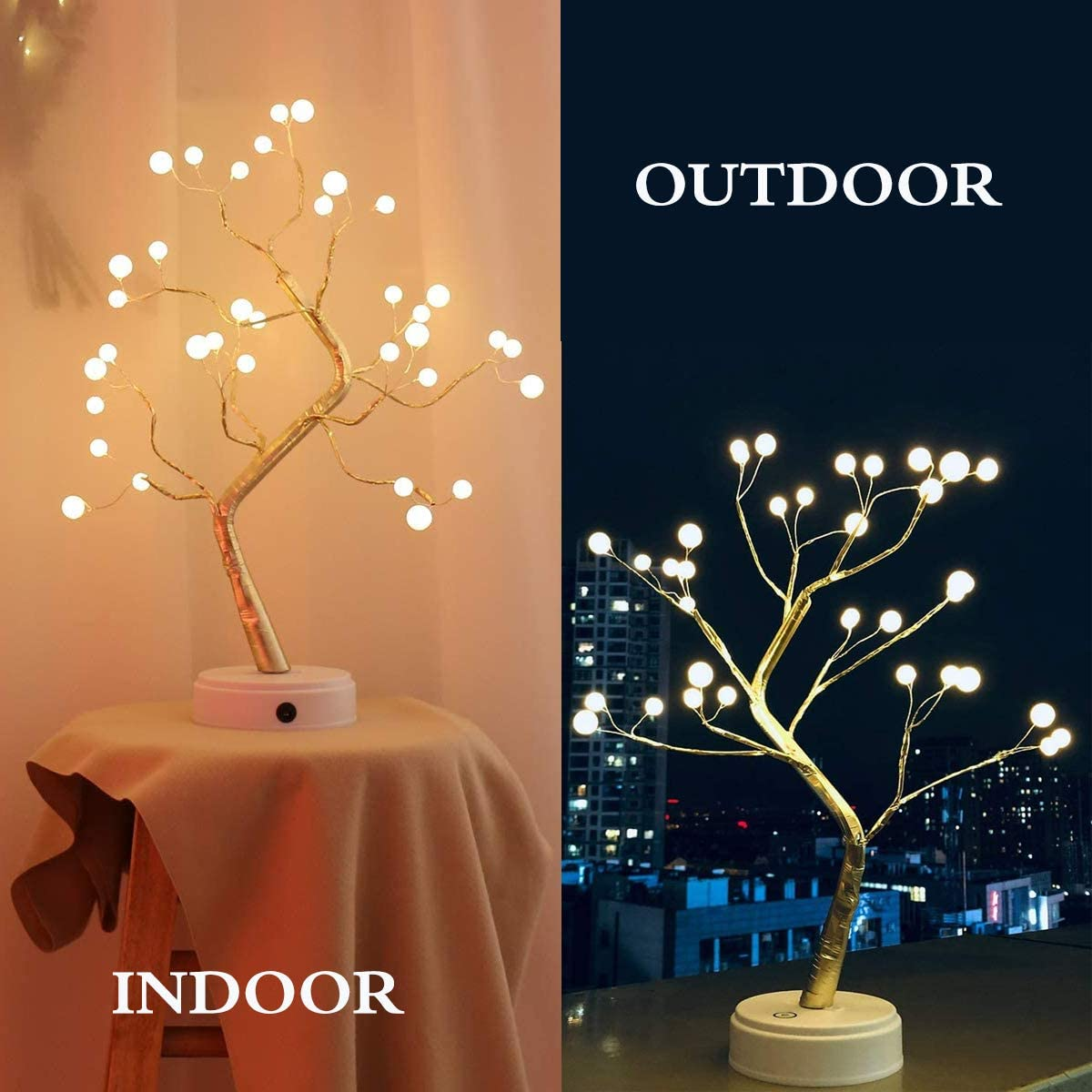 Tree Table Lamp with 36 Pearl LED Lights Artificial Tree Decoration Night Lamp