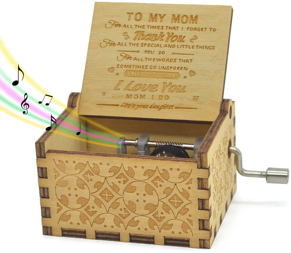 Mother's Day Music Box Daughter Inspirational Quote for Mom Engraving Wooden Musicial Box