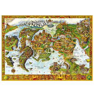 Ancient Continents Atlantis World Map 1000 Pieces Jigsaw Puzzles