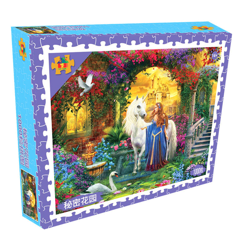 Beautiful Flower Castle Princess with Unicorn 1000 Pieces Jigsaw Puzzles
