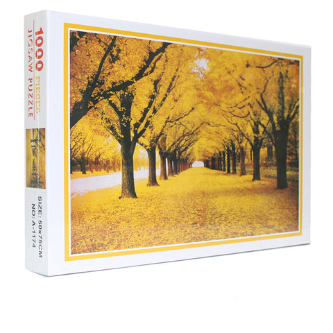Beautiful Street Golden Autumn Fall 1000 Pieces Jigsaw Puzzles
