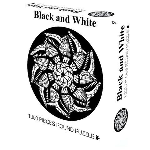 Black and White Mandala Blooming Flower 1000 Piece Circle Round Jigsaw Puzzles