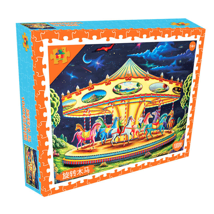 Cartoon Sweet Night Carousel 1000 Pieces Jigsaw Puzzles