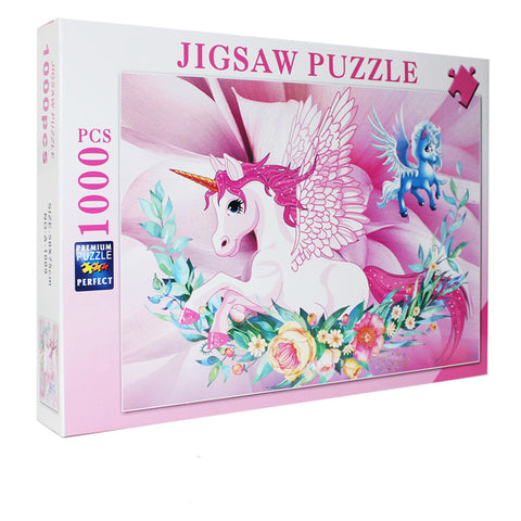 Cartoon Cute Design Pink Unicorn 1000 Pieces Jigsaw Puzzles