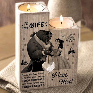 Christmas Wood Pillar Candle Holders Beauty and Beast Heart Shaped Tea Light Candle Stick Valentine Gift Idea