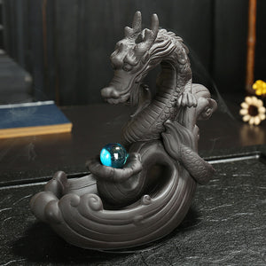 Cool Black Dragon Holding Gem Backflow Incense Burner