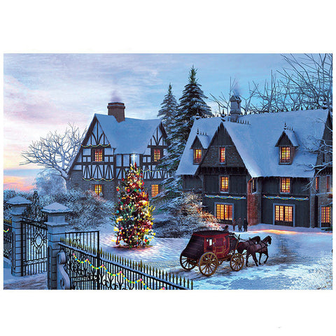 Country Manor Christmas Tree with Carriage 1000 Pieces Jigsaw Puzzles