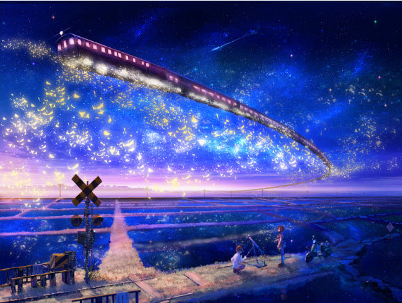 Dreamy Sky Train with Starry Night Art 1000 Pieces Jigsaw Puzzles