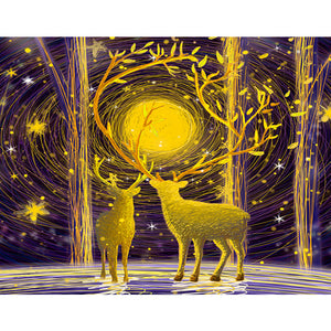 Golden Sunshine in Forest Deers 1000 Pieces Jigsaw Puzzles