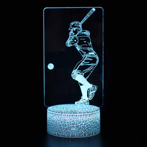 Hitting the Baseball Sport 3D Night Light