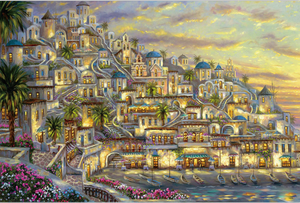 Watercolor Painting Greek City 1000 Pieces Jigsaw Puzzles