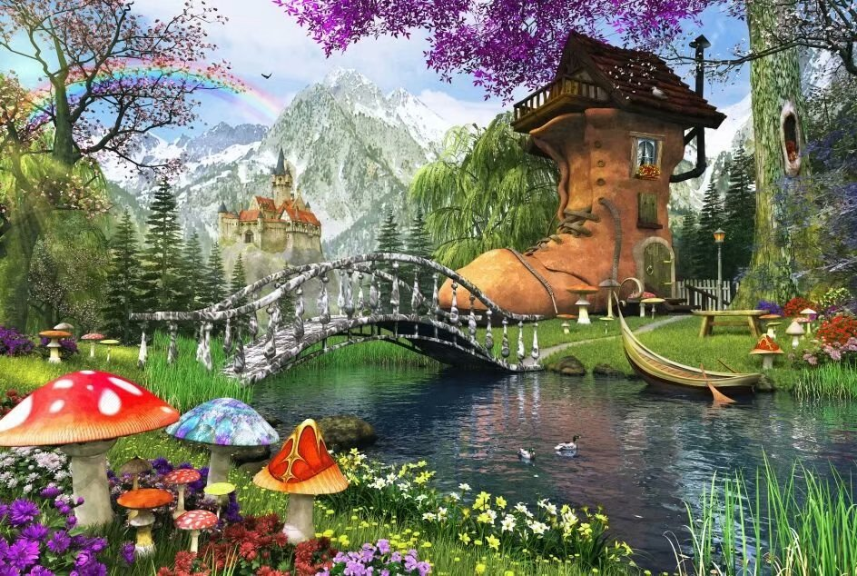 Dreamy World The Old Shoe House Cartoon 1000 Pieces Jigsaw Puzzles