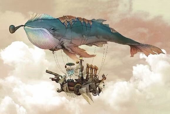 Flying Whale Hot Balloon Surreal 1000 Pieces Jigsaw Puzzles