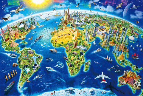 Unique World Map 3D View 1000 Pieces Jigsaw Puzzles