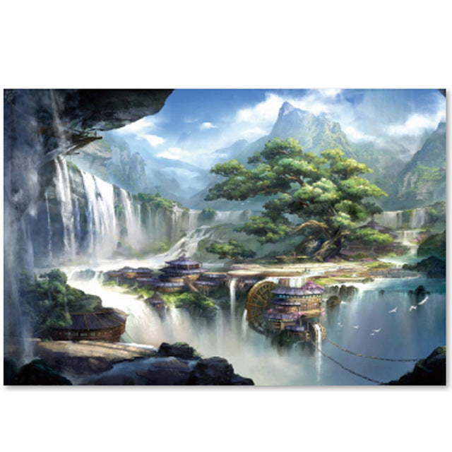 Japanese Fantasy Wonderland Waterfall Cabin 1000 Pieces Jigsaw Puzzles