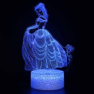 Belle Beauty and Beast Princess 3D Night Light