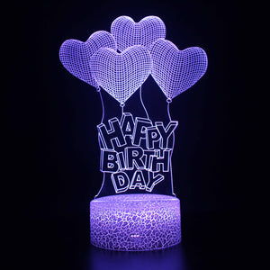 Happy Birthday Heart Shape Balloon 3D Night Light
