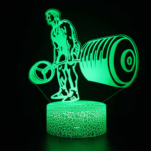 Weightlifting Sport Exercise 3D Night Light