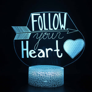 Follow your Heart Arrow Quote 3D Night Light