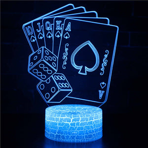 Dice with Poker 3D Night Light