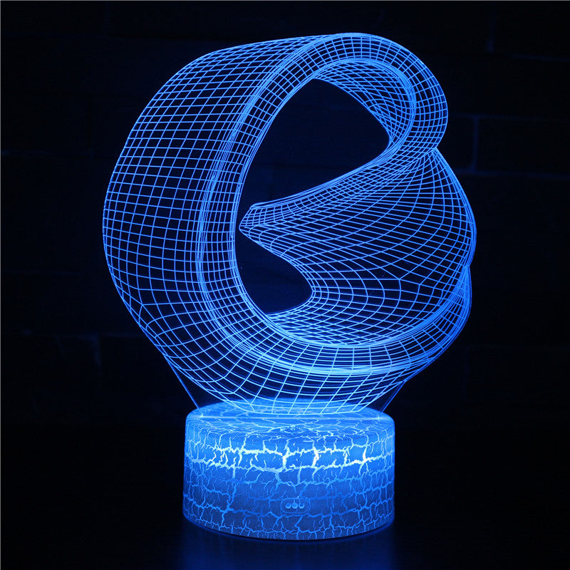 Abstract Irregular Bending 3D Illusion Night Light