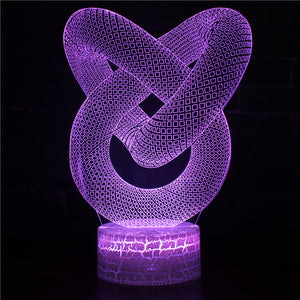 Abstract 3D Knot Art Night Light