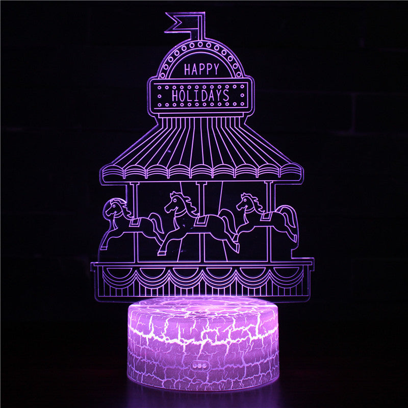 Spinning Merry Go Round Carousel Ride 3D Night Light