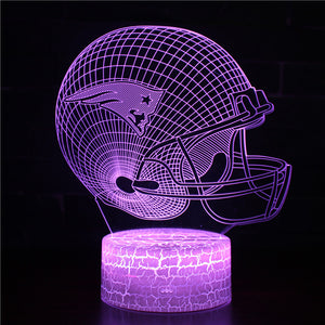 NFL Football New England Patriots Helmet 3D Night Light