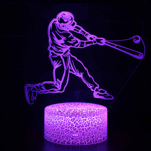 Baseball Playing 3D Night Light