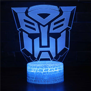 Autobot Optimus Prime Logo Transformers 3D Night Light