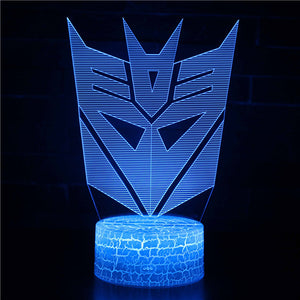 Autobot Deceptions Logo Transformers 3D Night Light
