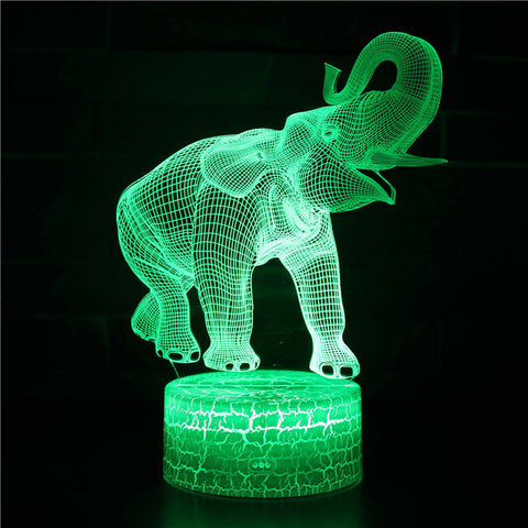 Happy Cute Little Elephant 3D Night Light