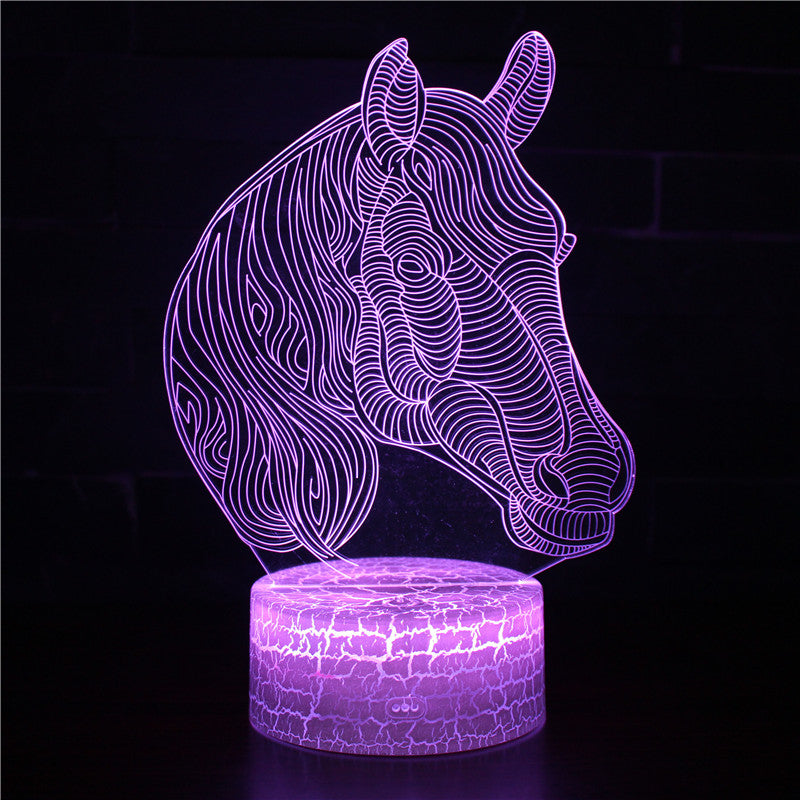 Abstract Horse Head 3D Night Light