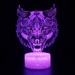 Awesome Gothic Abstract Wolf 3D Night Light
