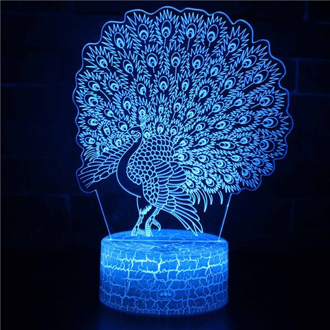 Faboulus Feather Peacock 3D Night Light