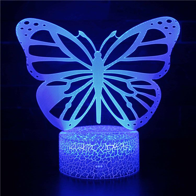 Summer Colorful Purple Butterfly 3D Night Light