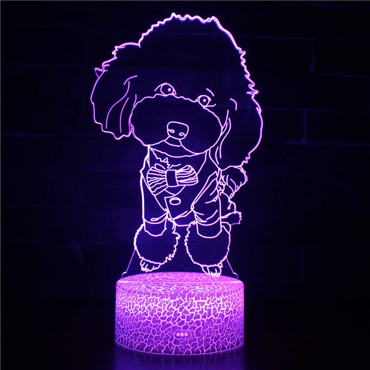 Sweet Cute Toy Poodle Dog 3D Night Light