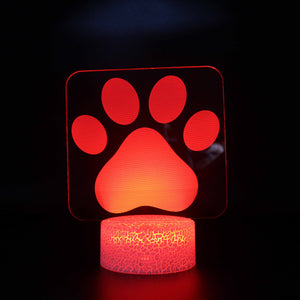 Dog Paw Print 3D Night Light
