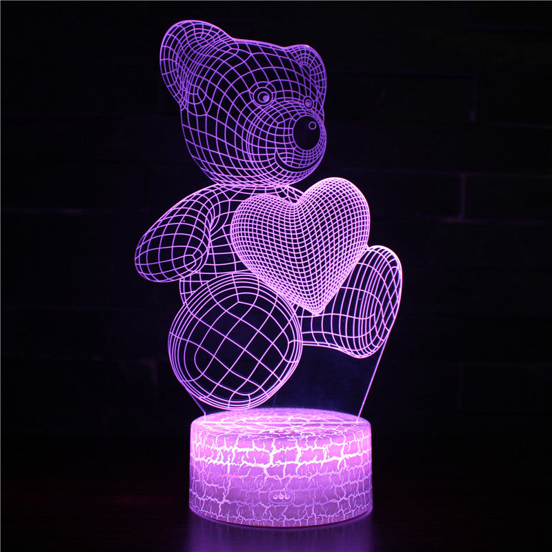 Valentine Heart Teddy Bear 3D Night Light