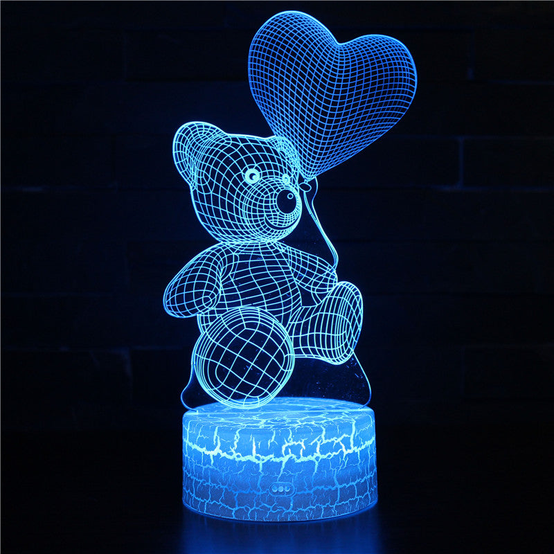 Valentine Teddy Bear Heart Shape Balloon 3D Night Light