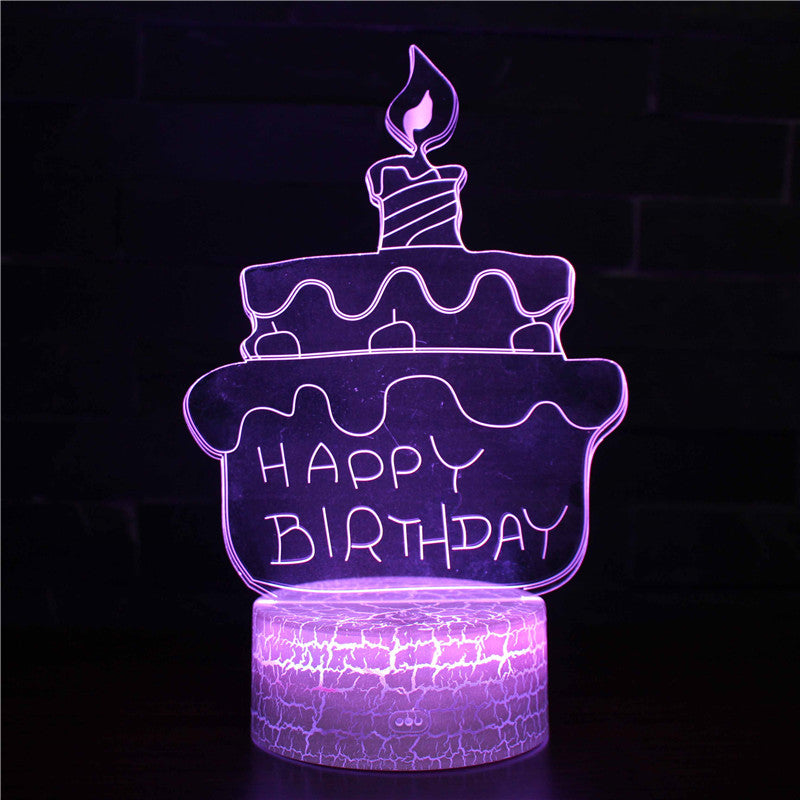 Happy Birthday Cake Gift Idea 3D Night Light