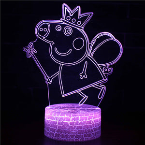 Cute Kids Peppa Pig Fairy 3D Night Light