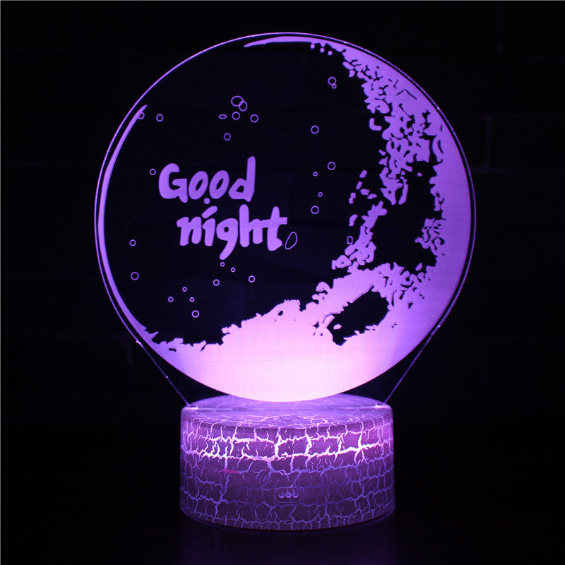 Good Night Lunar Moon Phase 3D Night Light