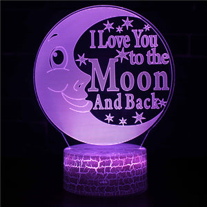 Friend Love Quote Moon 3D Night Light